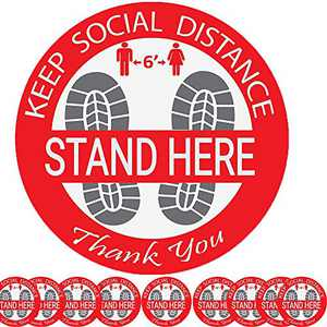 10 Pack Social Distancing Floor Decals, 12 Inch Non-Slip Distance Signs Reminder, 6 Feet Apart Floor Stickers, Removable Adhesive Safety Floor Markers- Red
