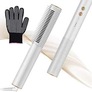 Hair Straightener Brush,Hair Straightening Iron with Built-in Comb Auto Temperature Lock,Fast Heating&5 Temp Settings&Anti-Scald,Portable Silky Electric Straightening Brush for Home,Travel and Salon.