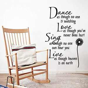 Supzone Dance Love Sing Live Wall Stickers Lettering Sticker Quotes Sayings Wall Decals Removable Vinyl Living Room Bedroom Nursery Room Flower Wall Decor