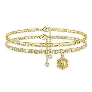Memorjew Ankle Bracelets for Women Initial Anklet, Gold Layered Anklet Letter U Initial Anklets for Women Teen Girls