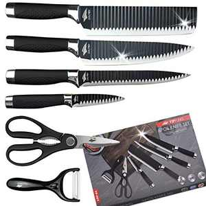Numola Black Professional Chef Knife Set 6 Piece Forged Kitchen Knives with Exquisit Gift Box, High Carbon Stainless Steel Kitchen Knife Cutlery Set ABS Handle with Ergonomic Design
