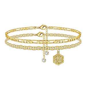 Memorjew Ankle Bracelets for Women Initial Anklet, Mariner Chain Layered Anklet with Initials Letter V Hexagon Anklet Bracelet for Women Teen Girls Gold Anklets Bracelets