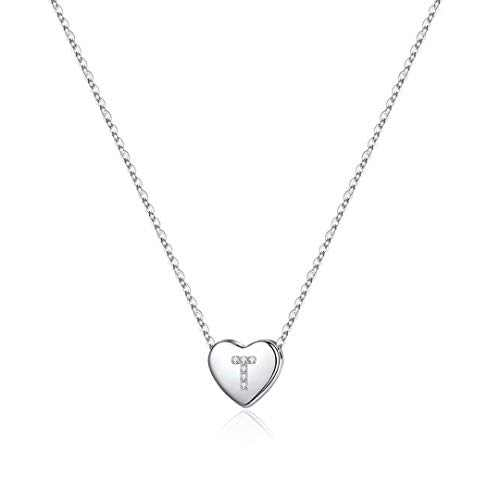 925 Sterling Silver Initial Necklace for Girls, Dainty Letter T Initial Heart Necklace for Women Girls, Valentines Mother's Day Girls Gifts Toddler Kids Jewelry Teenager Necklace for Teen Girls