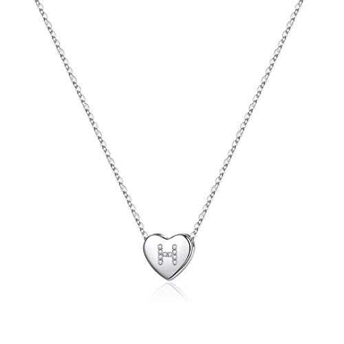 Memorjew 925 Sterling Silver Initial Necklace for Girls, Dainty Letter H Initial Heart Pendant Necklace for Women Little Girls, Valentines Mother's Day Girls Gifts Toddler Necklace Kids Jewelry