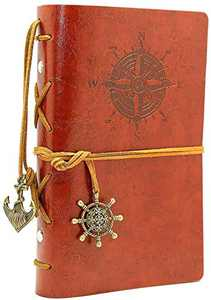 """Leather Writing Journal Notepad, Classic Embossed Vintage Nautical Spiral Blank String Refillable Diary Notebook Sketchbook Travel to Write in, Unlined Paper, Retro Pendants (7.3"""" x5"""", Retro Brown)"""