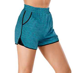 MOHUACHI Women Yoga Shorts 2 in 1 Workout Running Shorts with Pockets Fitness Shorts (Green, X-Large)