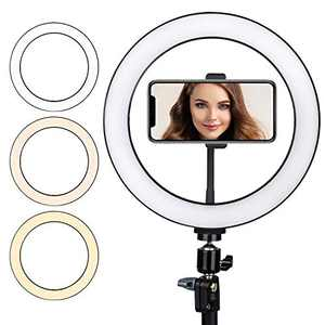 """LED Ring Light 10"""" Selfie Dimmable Desk Makeup Ring Light, Perfect for Live Streaming, TikTok, YouTube Video, Photography Compatible with Phone Holder"""