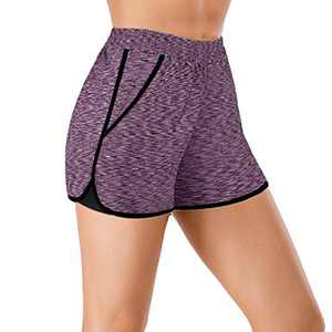 Women Yoga Shorts 2 in 1 Workout Running Shorts with Pockets Fitness Shorts (Purple, Medium)