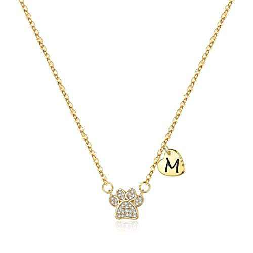 Dog Mom Gifts for Women, Dainty Cubic Zirconia 14 Gold Plated Letter M Initial Paw Print Necklace Dog Mom Gifts for Women Gifts for Dog Lover