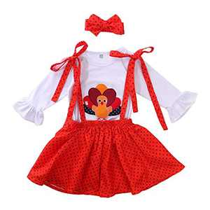 Toddler Girls Outfits 2pcs Baby Girl Halloween Clothes Set Girl Floral Pumpkin Skirt Outfits (3-4 Years, Thanksgiving 01#)