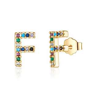 Initial Earrings for Girls Kids, 925 Sterling Silver Post Gold Plated Letter F Initial stud Earrings Cubic Zirconia Hypoallergenic Earrings for Girls Women Toddler Teen Kids Jewelry Gifts for Girls