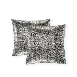 Xinrjojo Pack of 2, Shimmery Pillow, Soft Solid Color Sparkling Decorative Throw Pillow Covers Set, Cushion Cases Pillowcases for Sofa Bedroom Car, 22 x22 Inch 55 x 55cm (Silver- Black)