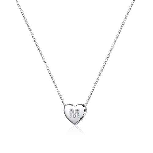 Memorjew 925 Sterling Silver Initial Necklace for Girls, Dainty Letter M Initial Heart Necklace for Women Girls, Valentines Mother's Day Girls Gifts Toddler Kids Jewelry Gifts Necklace for Teen Girls