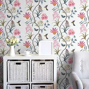 """Floral Wallpaper Peel and Stick Wallpaper 17.7""""x118"""" Vintage Floral Wallpaper Stick and Peel Self-Adhesive Removable Contact Paper Blooming Flower and Bird Wall Paper Decorative for Bedroom Walls"""