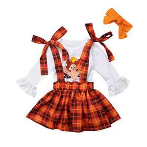 Toddler Girls Outfits 2pcs Baby Girl Halloween Clothes Set Girl Floral Pumpkin Skirt Outfits (5-6 Years, Thanksgiving 02#)