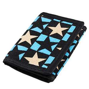 RFID Trifold Canvas Outdoor Sports Wallet for Men, Cute Coin Purse with Zipper and Front Pocket for Kids (Blue with Star)