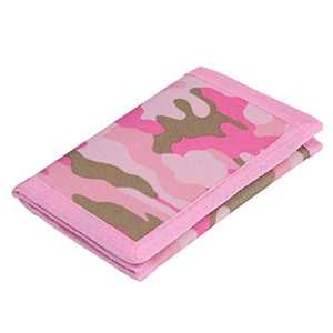 RFID Trifold Canvas Outdoor Sports Wallet for Men, Cute Coin Purse with Zipper and Front Pocket for Kids, Camouflage Color (Camouflage Pink)