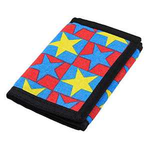 RFID Trifold Canvas Outdoor Sports Wallet for Men, Cute Coin Purse with Zipper and Front Pocket for Kids (Red and Star)