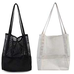 NAECOUS Canvas Grocery MeshShopping Bags, 2pack Heavy Duty & Premium Fashion Reusable Cloth Totes, Washable&Durable&Eco-friendly Totes (Black+White)