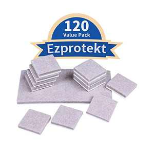 Ezprotekt 120 Value Pack Furniture Pads 1 Inch Self Adhesive Furniture Feet Felt Pads 5mm Thick Anti Scratch Floor Protectors for Desk Chair Legs