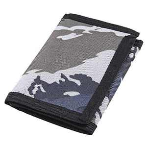 RFID Trifold Canvas Outdoor Camouflage Wallet for Men, Cute Coin Purse with Zipper and Front Pocket for Kids (Camouflage Grey)