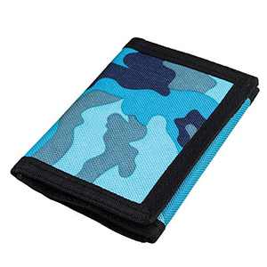 RFID Camouflage Canvas Outdoor Sports Wallet for Men, Cute Coin Purse with Zipper and Front Pocket for Kids, Camouflage Color (Camouflage Blue)