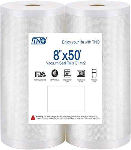 8''x50' TNO Vacuum Sealer Bag Roll for Sous Vide & Food Saver, Commercial Grade Sealer Saver Rolls for Meal Prep or Sous Vide, BPA Free, Puncture Prevention,Thicken(2Roll/Pack)