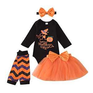 Baby Girls Halloween My 1st Halloween Sequins Romper+ Chiffon Tutu Skirt+ Striated Leggings+ Bunny Headband 4Pcs Outfit Set (0-3 Months, Orange 02#)