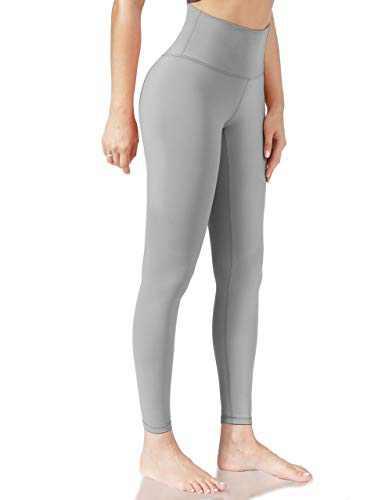 Natural Feelings Full Length Yoga Pants Workout Running High Waisted Leggings Light Grey