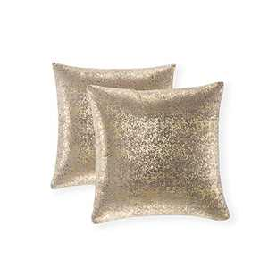 Xinrjojo Sparkling Decorative Pillow Cases, Silver Grey Pillows, 22x22 inch Pillow Covers, for Home Sofa Couch Chair Back Seat Bedroom Car, Starry 2 Pack (Bronzing- Dark Gray)