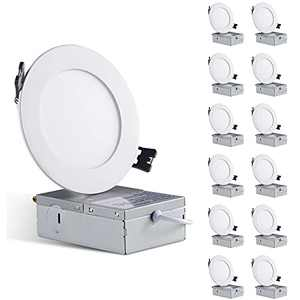 Lodoolight 12 Pack 4 Inch Ultra-Thin LED Recessed Ceiling Light with Junction Box, 5000K Daylight, 9W Eqv 75W, Dimmable Can-Killer Downlight, 780LM High Brightness