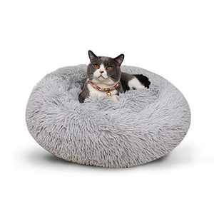 Donut Cuddler Bed for Dog, Soft Plush Round Dog Bed & Cat Bed, Dog Calming Bed, Fluffy Faux Fur Dog Warm Bed, Pet Warm Cushion Bed Mat, Pet Winter Warm Bed, Machine Washable Cozy Bed for Cat Dog