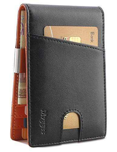 Mvgges Money Clip Wallet Slim Front Pocket Card Holders For Men Minimalist Bifold RFID Blocking Wallet (Genuine Leather)