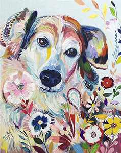 DIY 5D Diamond Painting by Numbers Kits for Adults,Full Drill Crystal Rhinestone Arts Craft Canvas Supply for Home Wall Decor Gift(18x14 inch Dog)