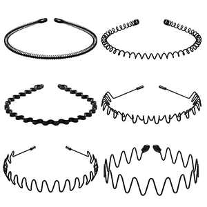 Metal Headbands Wavy Hairband Spring Hair Hoop Black Unisex Men Women Elastic Non Slip Sports Pack of 6