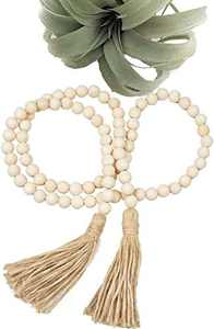 LOSOUR Natural Wood Bead Garland with Tassels, Farmhouse Rustic Country 58 in Beads Holiday Decoration Wall Hanging Prayer Beads for Room Decor