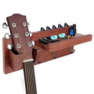 Wall Mount Guitar Hanger, Guitar Stand with Storage Shelf and 3 Metal Hook, Guitar Wood Hanging Rack for Electric Guitar, Acoustic Guitar, Bass Guitar, Guitar Accessories, TDTOK