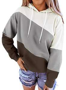 Aleumdr Women's Color Block Hooded Pullover Tops Long Sleeve Hoodies Coat Loose Casual Sweatshirts with Pocket Gray Medium 8 10