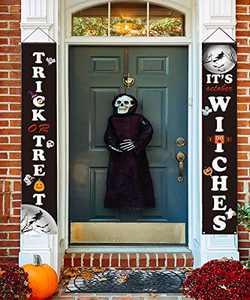 PARESI Trick or Treat & It's Witches, Halloween Decorations, Front Door Decorations,Halloween Welcome Signs - Halloween Signs for Front Door or Indoor Home Decor,Halloween Banners