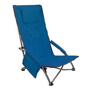 Low Sling Beach Chair Folding Light Portable (Plus-high Blue 21, Plus high)