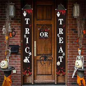 PARESI Trick or Treat, Halloween Decorations, Front Door Decorations, Halloween Party Hanging Flags, Halloween Porch Sign Banners for Outdoor or Indoor Home Decor Halloween Banners
