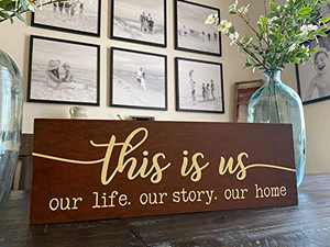 "22""x7"" This Is Us Large Rustic Metal Wall Decor,This Is Us Signs Home Decor Funny Rustic Metal Farmhouse Decor Sign,Rustic Metal Home Decor,Livingroom Sign Wall Decor,Family Photo Metal Wall,Funny Rustic Metal Farmhouse Decoration Housewarming Gifts"