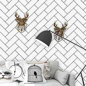 """17.7""""x118"""" White and Black Wallpaper Pattern Peel and Stick Wallpaper Self-Adhesive Removable Contact Paper White Wallpaper Decorative Wallpaper for Wall Covering ShelfDrawer LinerVinylFilm"""