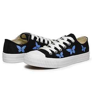 VILIYAWomen'sHandPaintedCanvasShoes Butterfly Painted Canvas Flats Sneakers for Women(Black 9)