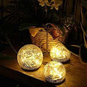 Jinniee Solar Powered LED Garden Light Cracked Glass Globe Ball Outdoor Lamp for Lawn Patio Garden Yard
