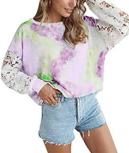 Womens Tie Dye Sweatshirt Top Casual Long Sleeve Lace Crochet Patchwork Oversized Pullover Tshirts Purple L