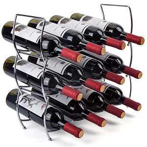 MOCREO Wine Rack, 3-Tier 12 Bottles Stackable Cabinet Wine Organizer Storage Rack freestanding Floor for Cabinet Pantry Holder, Metal