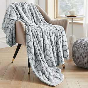 VEEYOO Fleece Blanket Queen Size - Fuzzy Blankets and Throws for All Seasons, Soft Fluffy Warm Flannel Plush Throw Blanket for Couch, Bed, Christmas, Grey Pebble Pattern
