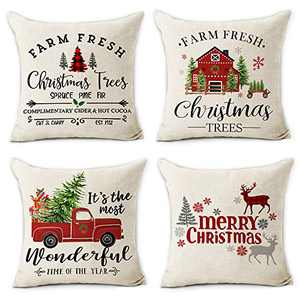 pinata Christmas Throw Pillow Covers 18x18 Set of 4 Winter Holiday Decorations Farmhouse Linen Decorative Pillows Cushion Case for Home Decor Pillowcase