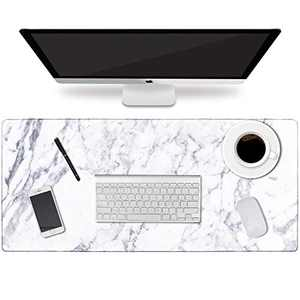 """HAOCOO Desk Pad, Office Desk Mat 31.5"""" ×15.7"""" Large Gaming Mouse Pad Durable Extended Computer Mouse Pad Water-Resistant Thick Writing Pads with Non-Slip Rubber Base for Office,White Marble"""